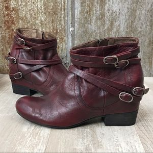Miz Mooz Fiji Maroon Belted Ankle Boots Sz. 8